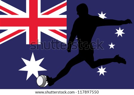 The flag of Australia with a football player - stock vector