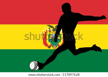 The flag of Bolivia with a football player