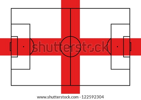The flag of England with the outline of a football pitch on it