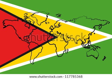 The flag of Guyana with the outline of the world