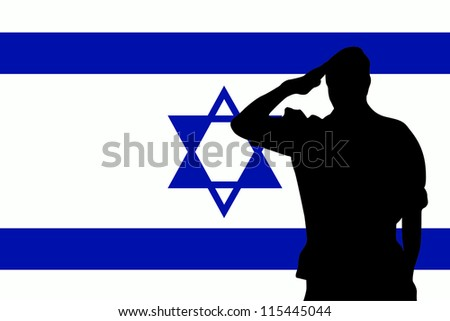 The flag of Israel and the silhouette of a soldier saluting - stock vector