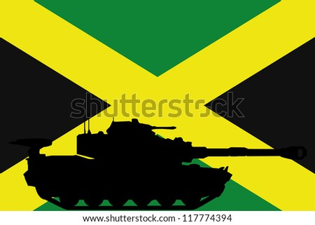 The flag of Jamaica with the silhouette of a tank