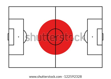 The flag of Japan with the outline of a football pitch on it - stock vector