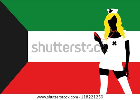 The flag of Kuwait with a vector silhouette of a sexy naught nurse