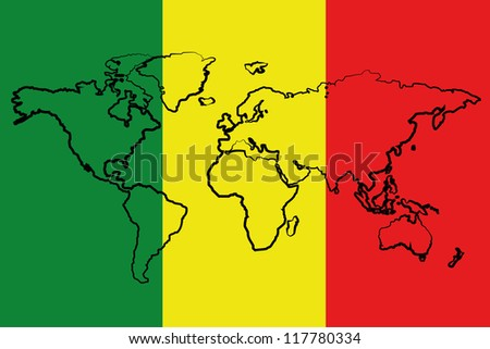The flag of Mali with the outline of the world