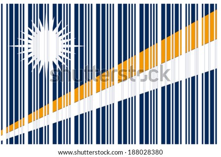 The Flag of Marshall Islands in a Barcode Format