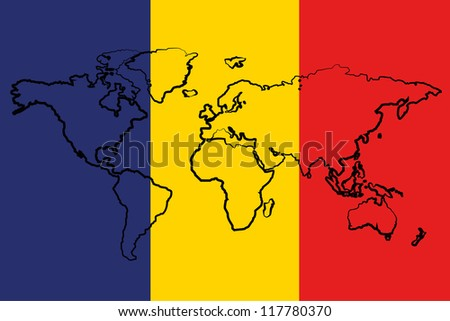 The flag of Romania with the outline of the world