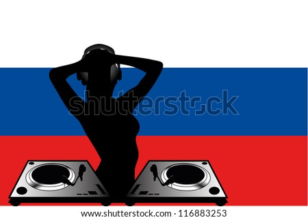 The flag of Russia with a female DJ wearing headphones with a set of decks