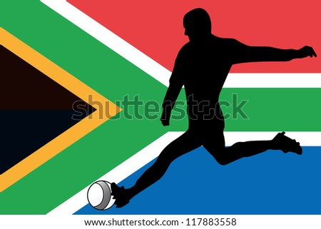 The flag of South Africa with a football player