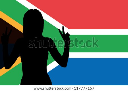 The flag of South Africa with the silhouette of a woman with peace signs