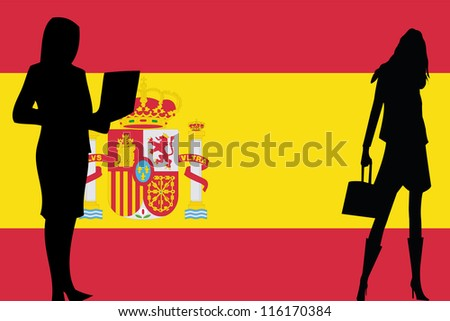 The flag of Spain with silhouettes of women in business women