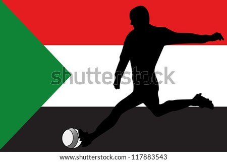 The flag of Sudan with a football player