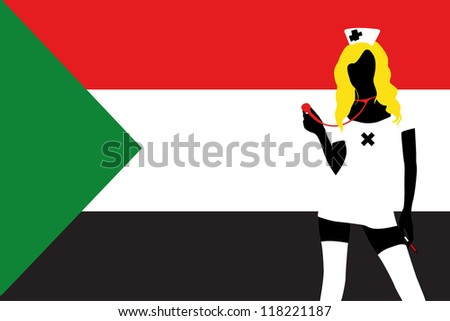 The flag of Sudan with a vector silhouette of a sexy naught nurse