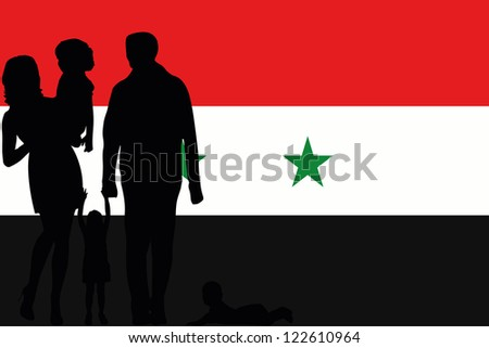 The flag of Syria with the silhouette of a family