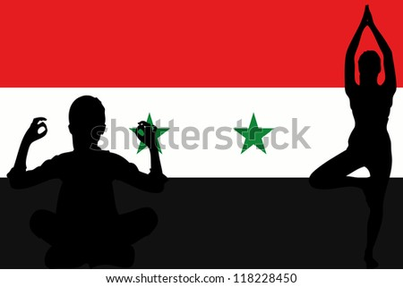 The flag of Syria with yoga silhouettes