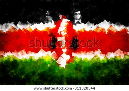 The flag of the Republic of Kenya in Vector Square Design - stock vector