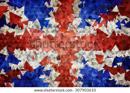 The flag of the United Kingdom of Great Britain and Northern Ireland, commonly known as the Union Jack or Union Flag, the national flag of the United Kingdom in vector triangular design - stock vector
