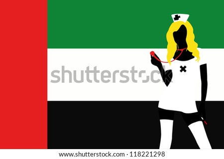 The flag of United Arab Emirates with a vector silhouette of a sexy naught nurse