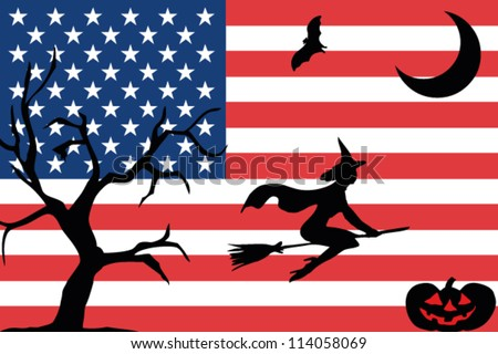 Flag Usa Halloween Silhouettes Stock Vector 114058069 - Shutterstock