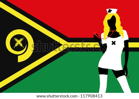 The flag of Vanuatu with a vector silhouette of a sexy naught nurse