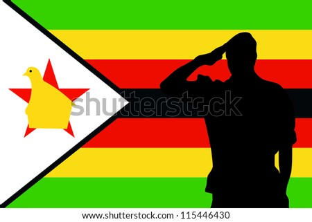 The flag of Zimbabwe and the silhouette of a soldier saluting