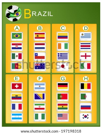 The Flags of 32 Nations of Football or Soccer Championship in Final Tournament.  - stock vector