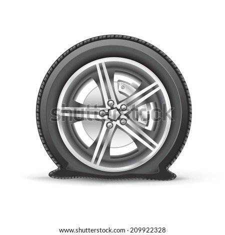 The flat tire on the white background - stock vector
