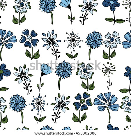 the flowers of the plant. a lot of colorful flowers. background. shades of blue