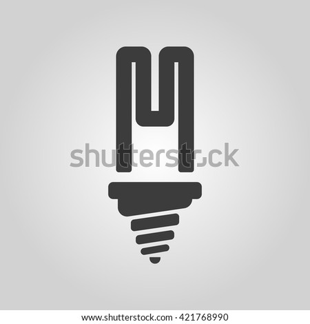The fluorescent light bulb icon. Lamp and bulb, lightbulb symbol.UI. Web. Logo. Sign. Flat design. App. Stock vector - stock vector