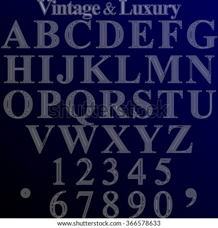 The font on blue background. Chalk, Old style and luxury. English alphabet and numbers