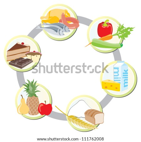 The food in groups: meat, poultry and fish + vegetables+ milk and dairy + cereals + fruit + sweets and fats - stock vector