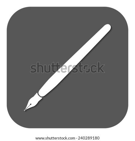 The fountain pen icon. Fountain pen symbol. Flat. Vector illustration. Button - stock vector