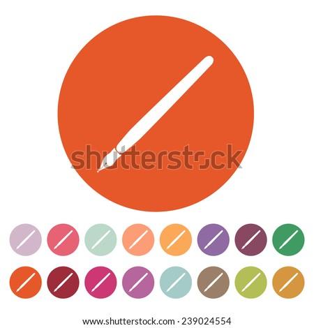 The fountain pen icon. Fountain pen symbol. Flat. Vector illustration. Button Set - stock vector