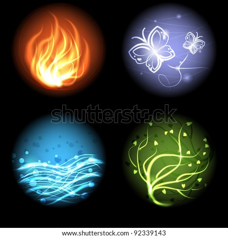 The four elements of nature: air, earth, fire, water.