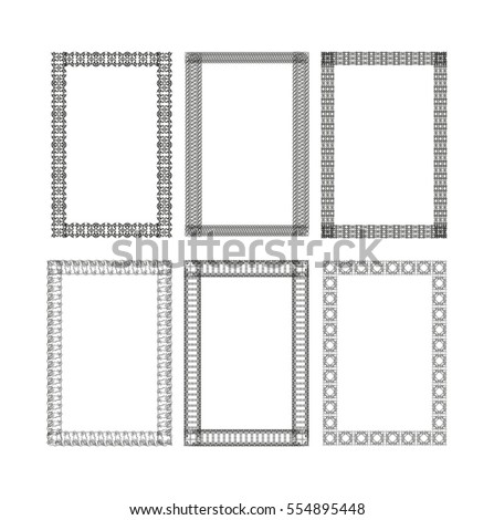 The frame, border. For the certificate, diploma. Vector elements. Template. Set.