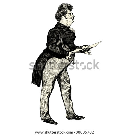 """The french gentleman - Vintage engraved illustration - """"Les Francais"""" by L.Curmer in 1842 France - stock vector"""