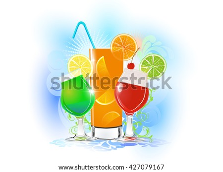 The fresh cocktails on the white background. The abstract background with colorful cocktails.