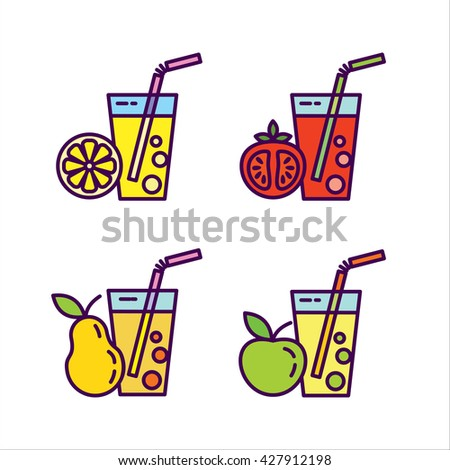 The fresh juice. Icon set, natural juices from fruits and vegetables. Tomato, Apple, pear, orange. - stock vector