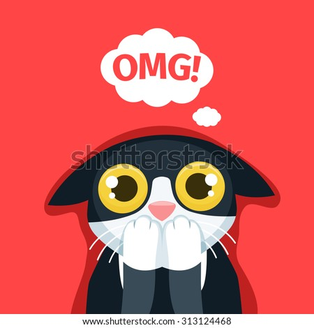 The frightened cat thinks Oh my God! - stock vector