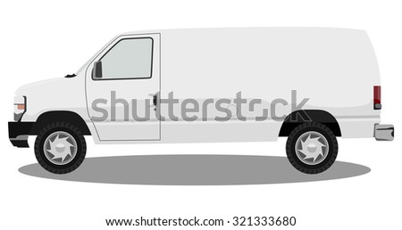 The front side of the light commercial vehicle on a white background - stock vector