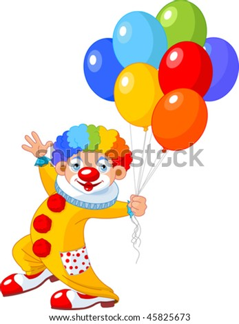 The funny clown holding balloons. Vector illustration