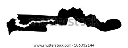 The Gambia vector map silhouette isolated on white background. High detailed illustration. - stock vector