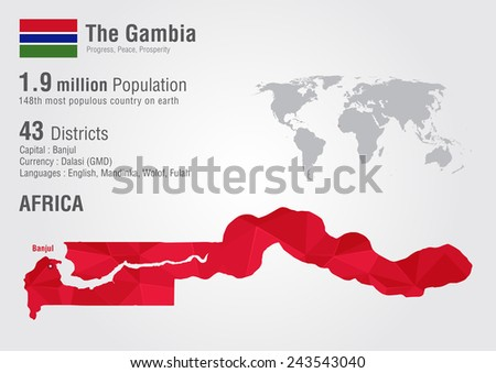 The Gambia world map with a pixel diamond texture. World geography. - stock vector