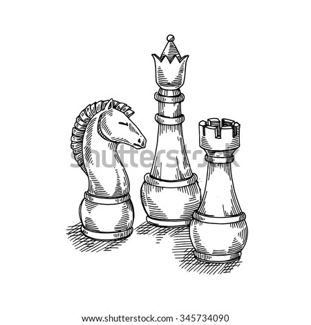 The game of chess, chess pieces,vector hand drawing