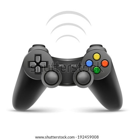 The gamer black joypad with wireless signal on the white background - stock vector