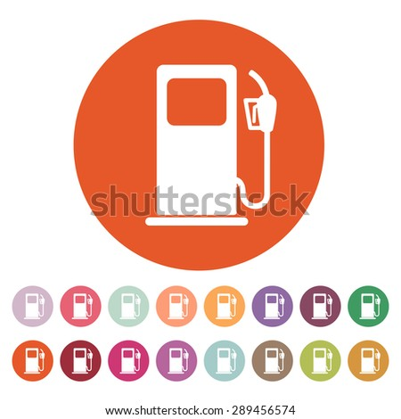 The gas station icon. Gasoline and diesel fuel symbol. Flat Vector illustration. Button Set - stock vector