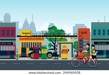 The gas station that employs refueling in the city. - stock vector