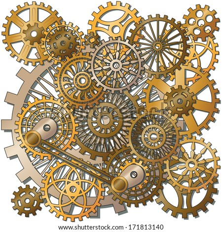 the gears in the style of steam punk. Vector - stock vector