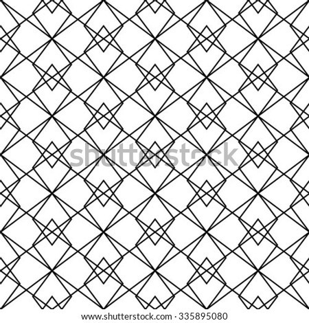The geometric pattern by stripes, lines, rhombuses. Seamless vector background. Black and white texture