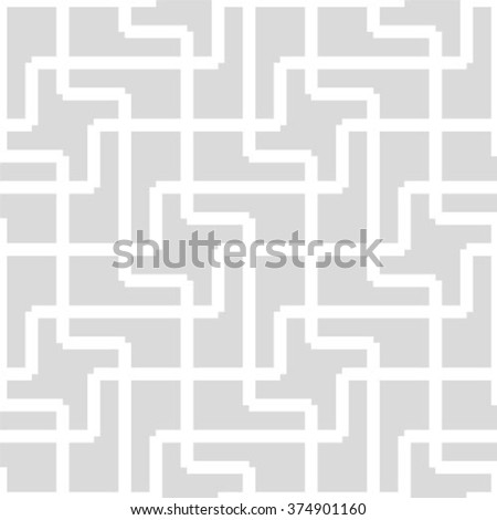 The geometric pattern by stripes, lines, rhombuses. Seamless vector background. Gray and white texture